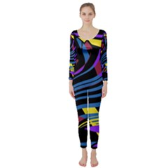 Decorative abstract design Long Sleeve Catsuit