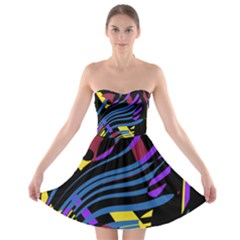 Decorative abstract design Strapless Dresses