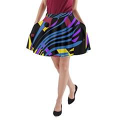 Decorative abstract design A-Line Pocket Skirt