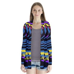 Decorative abstract design Drape Collar Cardigan