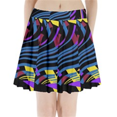 Decorative Abstract Design Pleated Mini Mesh Skirt