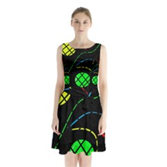 Colorful Design Sleeveless Waist Tie Dress