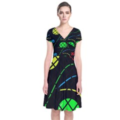 Colorful Design Short Sleeve Front Wrap Dress