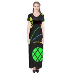 Colorful design Short Sleeve Maxi Dress
