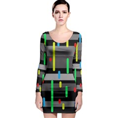 Colorful pattern Long Sleeve Bodycon Dress