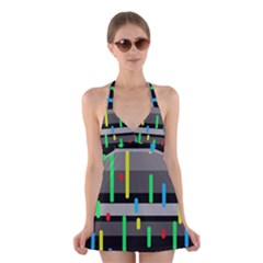 Colorful Pattern Halter Swimsuit Dress