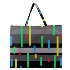 Colorful pattern Zipper Large Tote Bag