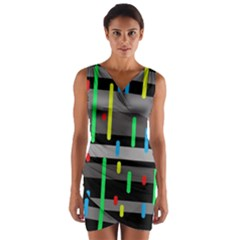 Colorful pattern Wrap Front Bodycon Dress