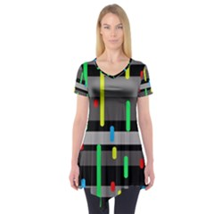 Colorful pattern Short Sleeve Tunic