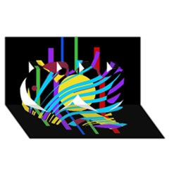 Colorful abstract art Twin Hearts 3D Greeting Card (8x4)