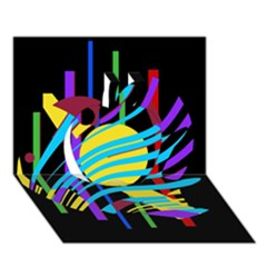 Colorful abstract art Apple 3D Greeting Card (7x5)