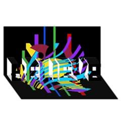Colorful abstract art BELIEVE 3D Greeting Card (8x4)
