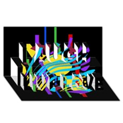 Colorful abstract art Laugh Live Love 3D Greeting Card (8x4)