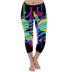 Colorful Abstract Art Capri Winter Leggings