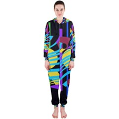 Colorful abstract art Hooded Jumpsuit (Ladies)