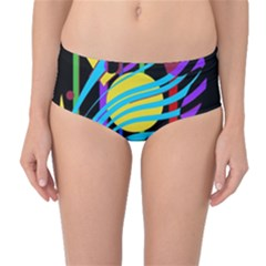 Colorful abstract art Mid-Waist Bikini Bottoms