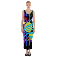 Colorful Abstract Art Fitted Maxi Dress