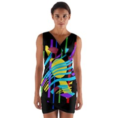 Colorful Abstract Art Wrap Front Bodycon Dress