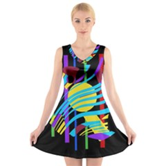 Colorful Abstract Art V Neck Sleeveless Skater Dress