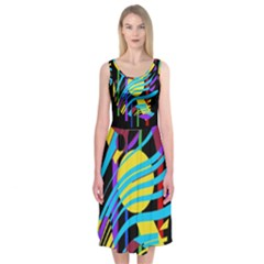 Colorful abstract art Midi Sleeveless Dress