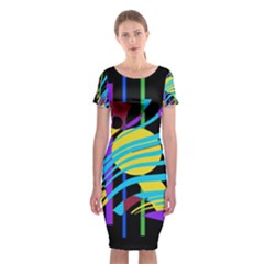 Colorful abstract art Classic Short Sleeve Midi Dress
