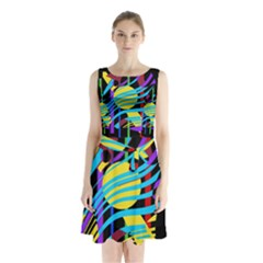 Colorful abstract art Sleeveless Waist Tie Dress
