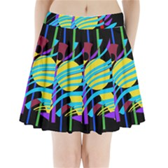 Colorful abstract art Pleated Mini Mesh Skirt