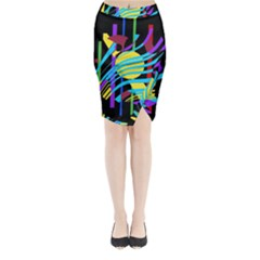 Colorful abstract art Midi Wrap Pencil Skirt