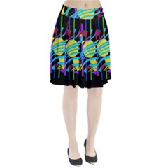 Colorful Abstract Art Pleated Mesh Skirt