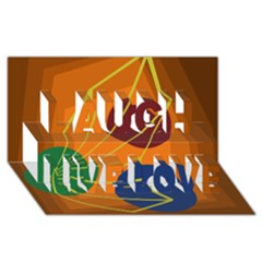 Orange abstraction Laugh Live Love 3D Greeting Card (8x4)