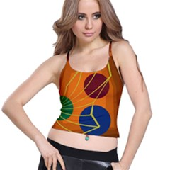 Orange abstraction Spaghetti Strap Bra Top
