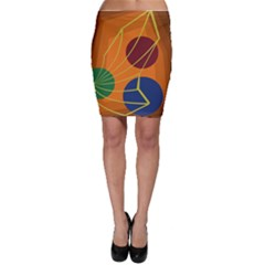 Orange abstraction Bodycon Skirt
