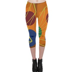 Orange abstraction Capri Leggings
