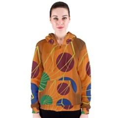 Orange abstraction Women s Zipper Hoodie