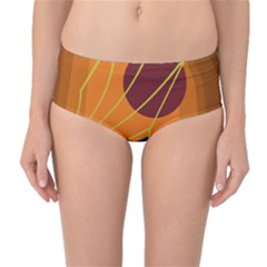 Orange abstraction Mid-Waist Bikini Bottoms