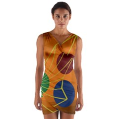 Orange abstraction Wrap Front Bodycon Dress