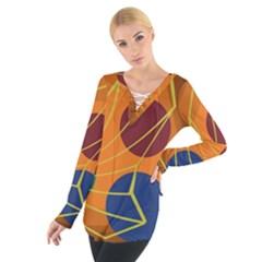 Orange abstraction Women s Tie Up Tee