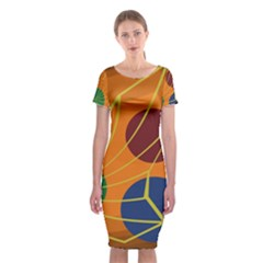 Orange Abstraction Classic Short Sleeve Midi Dress