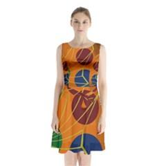 Orange abstraction Sleeveless Waist Tie Dress