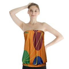 Orange Abstraction Strapless Top