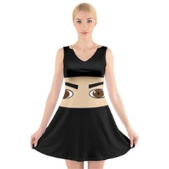 Ninja V Neck Sleeveless Skater Dress