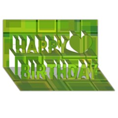 Green pattern Happy Birthday 3D Greeting Card (8x4)