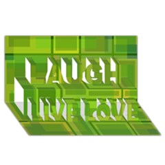 Green pattern Laugh Live Love 3D Greeting Card (8x4)