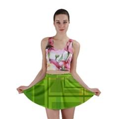 Green pattern Mini Skirt