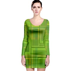 Green pattern Long Sleeve Bodycon Dress