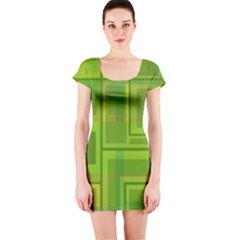 Green pattern Short Sleeve Bodycon Dress