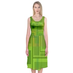 Green pattern Midi Sleeveless Dress