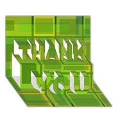 Green pattern THANK YOU 3D Greeting Card (7x5)