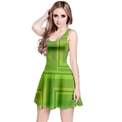 Green pattern Reversible Sleeveless Dress