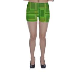 Green pattern Skinny Shorts